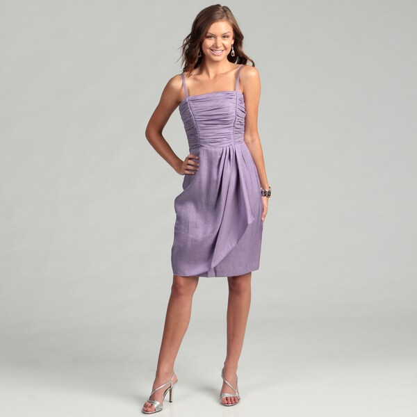 London Times Women's Purple Lotus Ruched Dress
