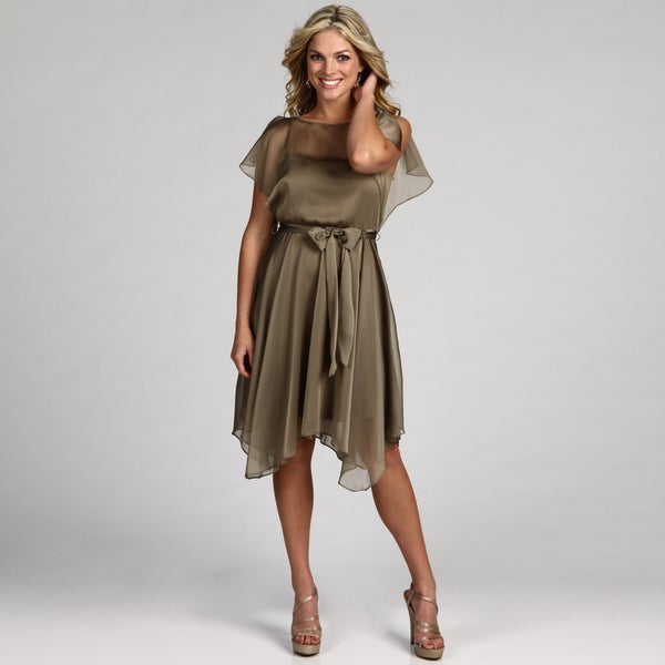 London Times Women's Bronze Magic Belted Dress