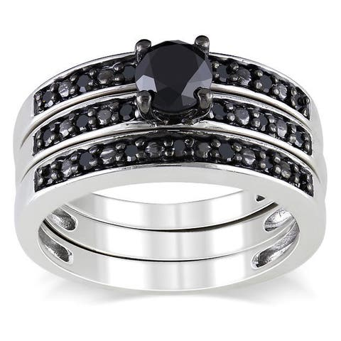 Miadora Sterling Silver 1ct TDW Black Diamond Stackable 3-piece Engagement Bridal Ring Set