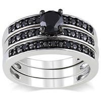 Miadora Sterling Silver 1ct TDW Black Diamond Stackable 3-piece Engagement Bridal Ring Set