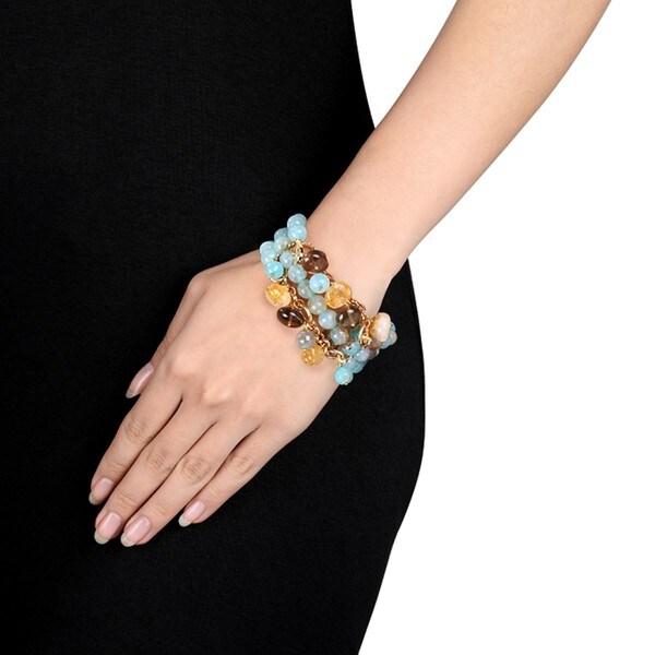 Miadora Brass 300ct TGW Multi-gemstone Bead 3-row Stretch Bracelet