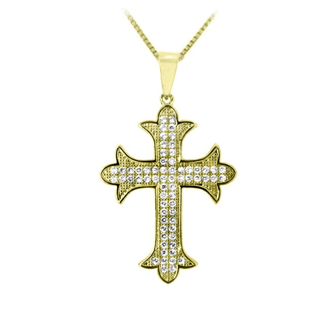 14k Goldplated Clear Cubic Zirconia Cross Necklace