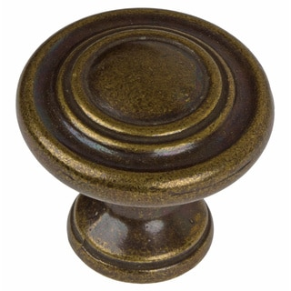 GlideRite 1.25-inch Antique Brass Classic 3-ring Round Cabinet Knobs (Pack of 25)