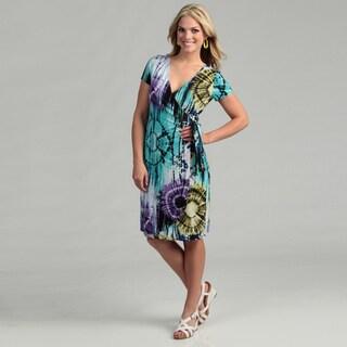 Scarlett Women's Lilac Tie-dye Wrap Dress