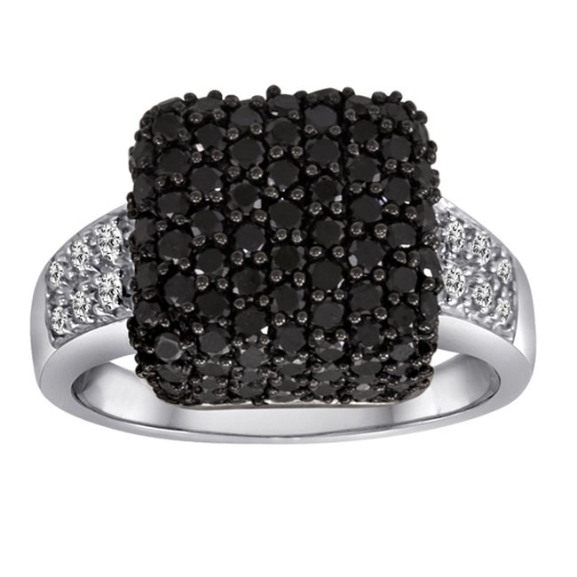 Sterling Silver 2ct TDW Black and White Diamond Cocktail Ring (Size 7) (I-J, I2-I3)