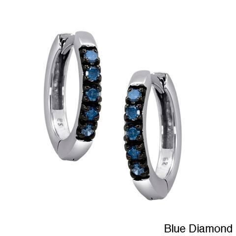 Sterling Silver 1/4ct TDW Diamond Hoop Earrings