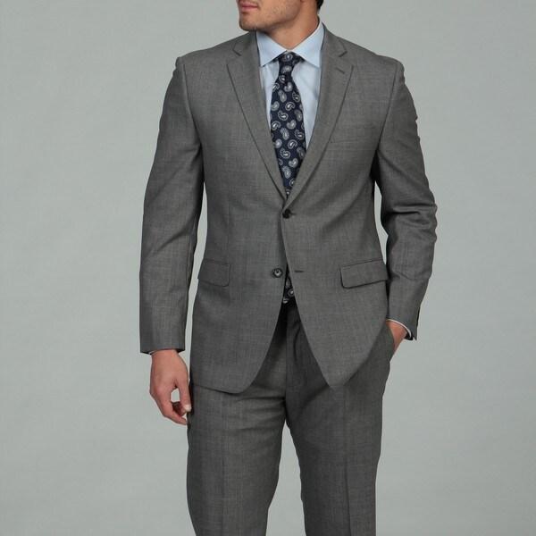 Joseph Abboud Men's Black and White 2-button Wool Suit
