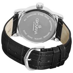 Grovana Men's 1721.1537 'Day Retrograde' Black Leather Strap Quartz Watch - Thumbnail 1