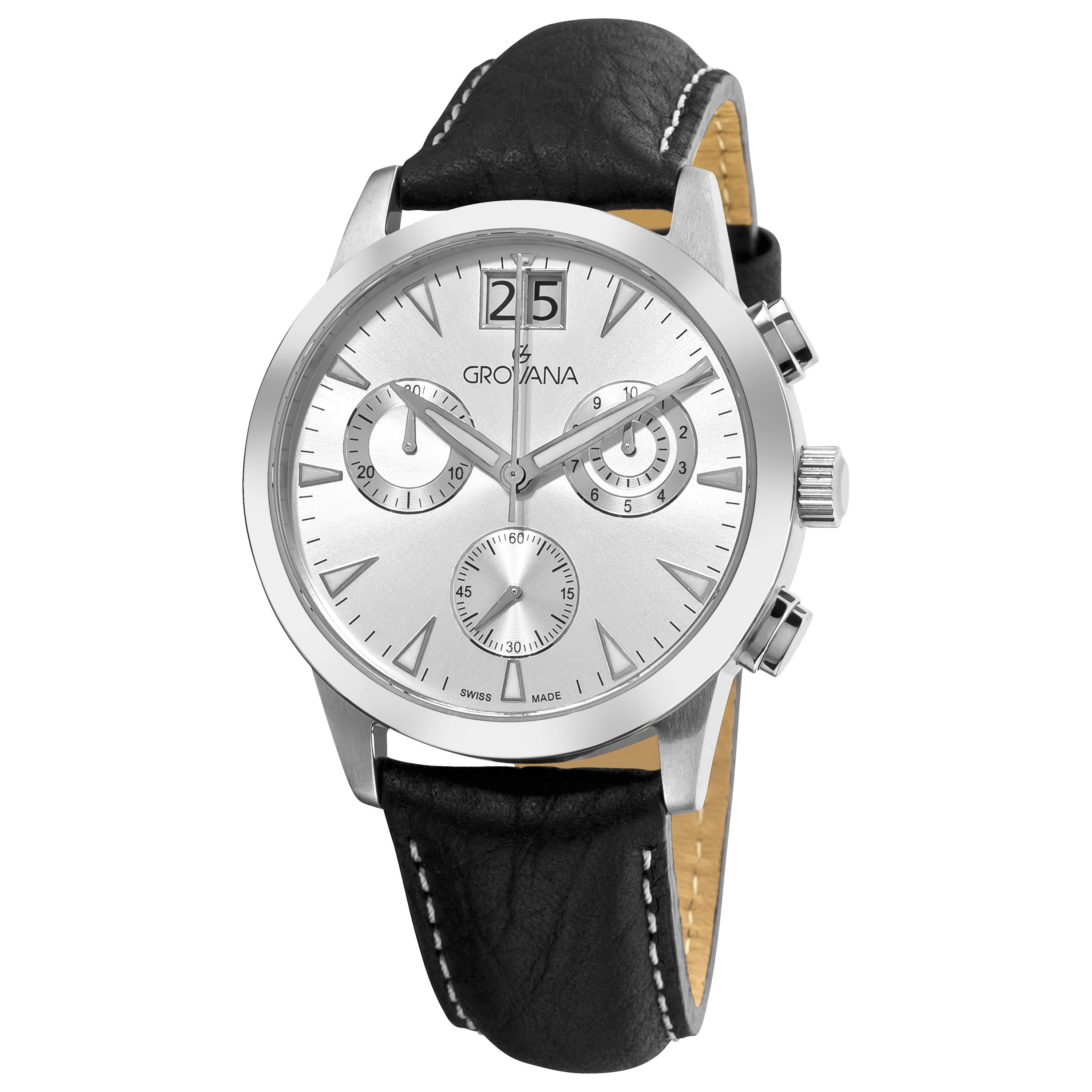 Grovana Men's 1722.9532 Silver Chronograph Dial Quartz Watch