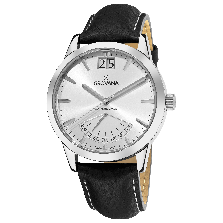 Grovana Men's 1722.1532 'Day Retrograde' Silver Dial Watch
