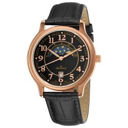 Grovana Men's 1026.1567 Black Moonphase Dial Rose Goldtone Watch