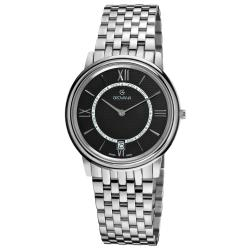 Grovana Men's 1708.1137 Black Dial Stainless Steel Watch