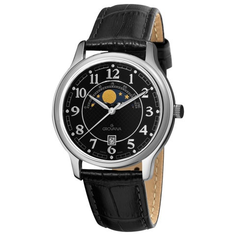 Grovana Men's Black Moonphase Dial Black Strap Watch