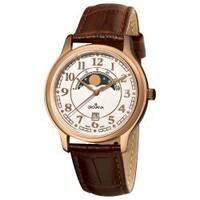 Grovana Men's 1026.1563 Brown Strap Rose Goldtone Moonphase Watch