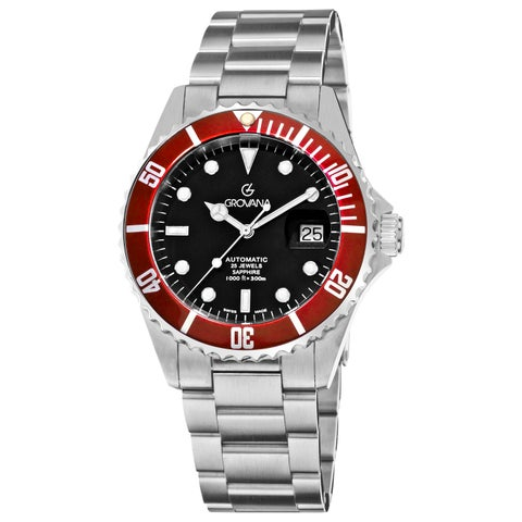 Grovana Men's 'Diver' Black Dial Red Bezel Automatic Watch