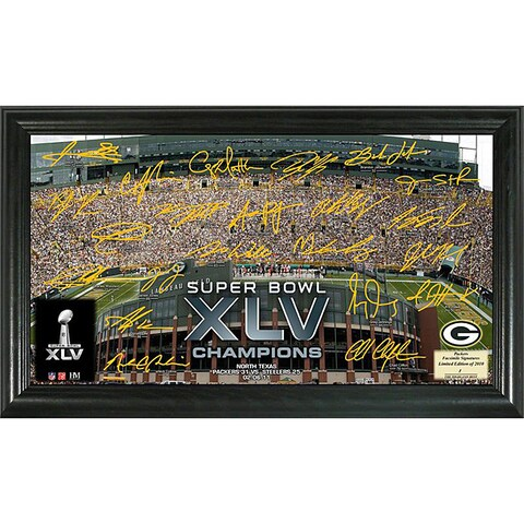"Highland Mint Green Bay Packers ""Super Bowl XLV Champions"" Autographed Gridiron Photo"