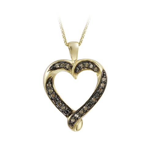 DB Designs 18k Gold over Silver 1/5ct TDW Champagne Diamond Heart Necklace