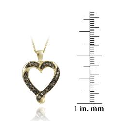 DB Designs 18k Gold over Silver 1/5ct TDW Champagne Diamond Heart Necklace - Thumbnail 2