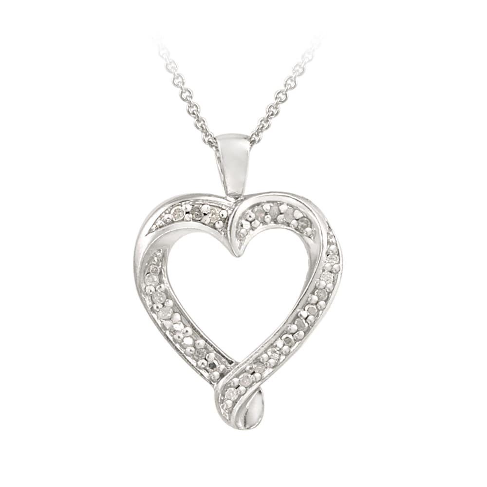 DB Designs Sterling Silver 1/5ct TDW Diamond Heart Necklace