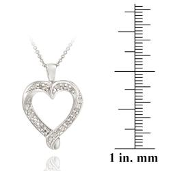 DB Designs Sterling Silver 1/5ct TDW Diamond Heart Necklace - Thumbnail 2
