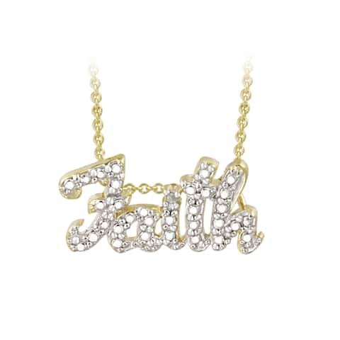 DB Designs 18k Gold over Sterling Silver Diamond Accent Faith Necklace