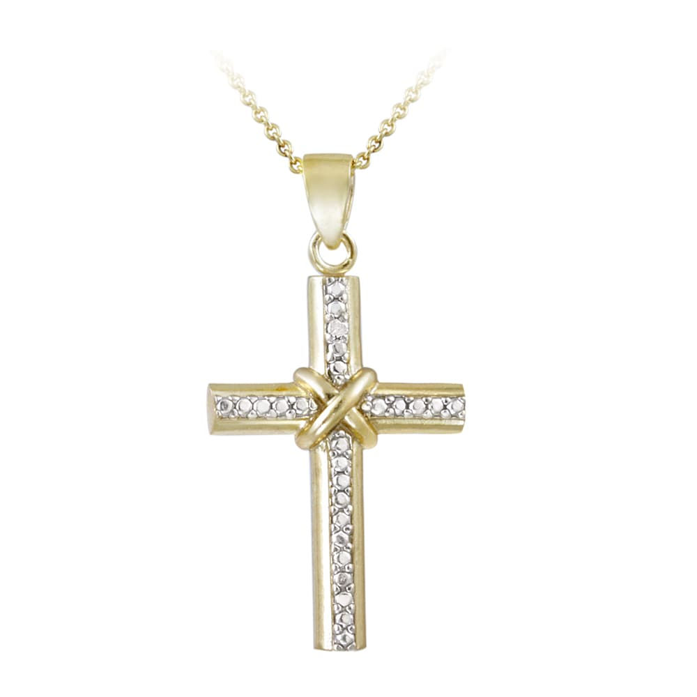 DB Designs Two-tone Diamond Accent Cross Necklace