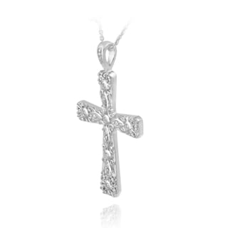 DB Designs Sterling Silver Diamond Accent Cross Necklace