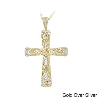 DB Designs Sterling Silver Diamond Accent Cross Necklace (I-J, I2-I3)