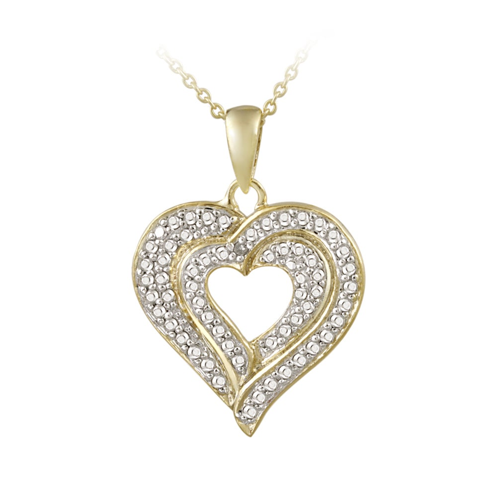 DB Designs 18k Gold over Sterling Silver Diamond Accent Heart Necklace - Thumbnail 0