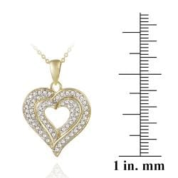 DB Designs 18k Gold over Sterling Silver Diamond Accent Heart Necklace - Thumbnail 2