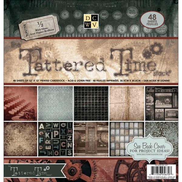 Die Cuts with a View 'Tattered Time' Paper Stack (Pack of 48 sheets)