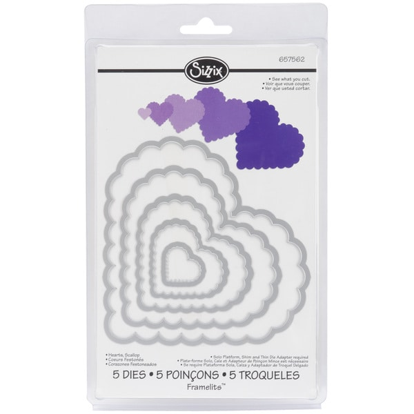 Sizzix Framelits Scalloped Heart Die Cuts Package of 5