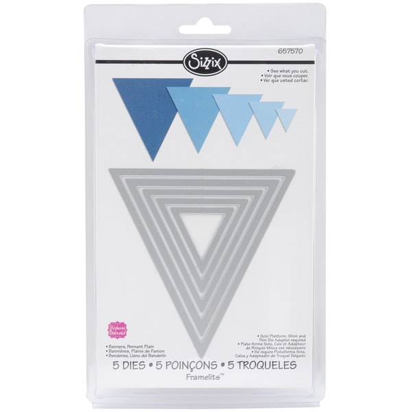 Sizzix Framelits Plain Pennant Triangle Die Cuts Package of 5