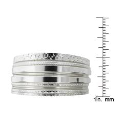 Silvertone Textured 11-piece Bangle Bracelet Set - Thumbnail 2