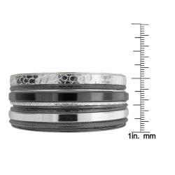 Two-tone Stackable Textured 11-piece Bangle Bracelet Set