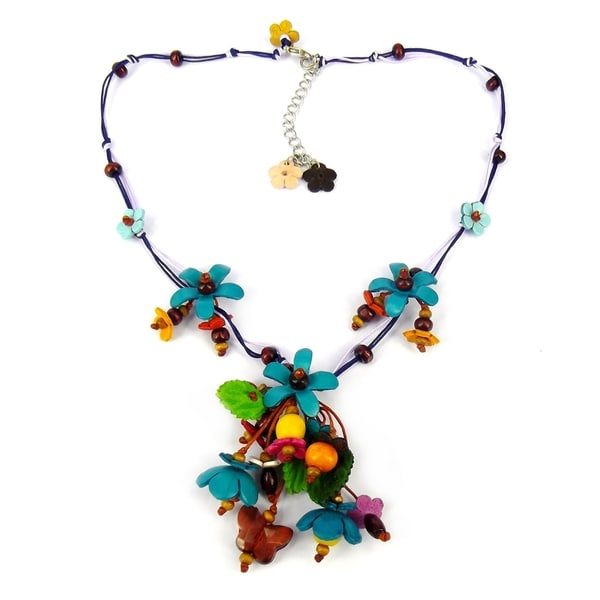 Blue Glass Bead Floral Garden Leather Necklace (Thailand)