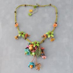 Green Glass Bead Floral Garden Leather Necklace (Thailand)