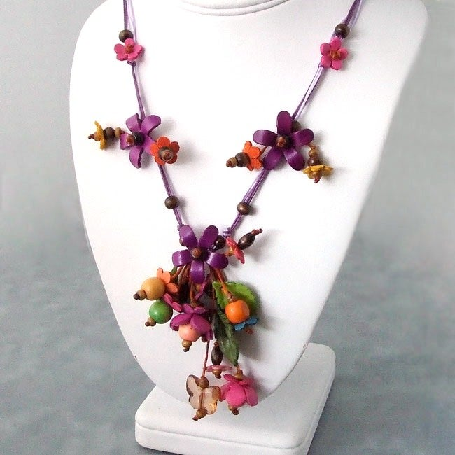 Violet Glass Bead Floral Garden Leather Necklace (Thailand) - Thumbnail 0