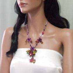 Violet Glass Bead Floral Garden Leather Necklace (Thailand) - Thumbnail 2