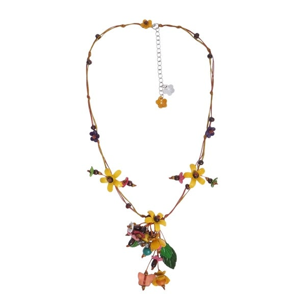 Handmade Beautiful Scenic Garden in Yellow Leather Flower Necklace (Thailand)