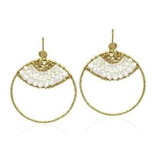 Handmade Goldtone Freshwater White Pearl Hoop Earrings (3-4 mm)(Thailand)