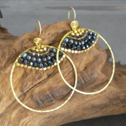 Goldtone Freshwater Black Pearl Hoop Earrings (3-4 mm)(Thailand)