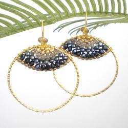 Goldtone Freshwater Black Pearl Hoop Earrings (3-4 mm)(Thailand)