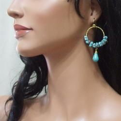 Handmade Goldtone Moon Blue Turquoise Hoop Earrings (Thailand)