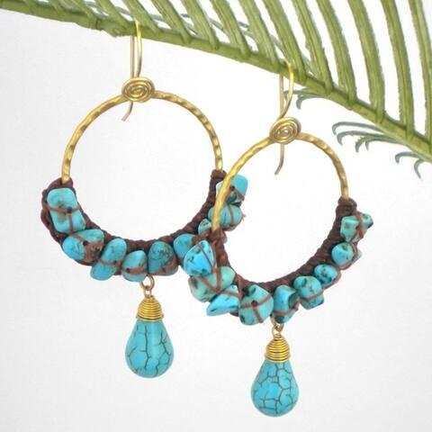 Handmade Goldtone Moon Blue Turquoise Hoop Earrings (Thailand)