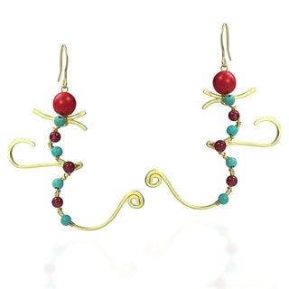 Mythical Aum/Om Turquoise-Synthetic Coral Brass Earrings (Thailand)