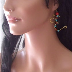 Handmade Mythical Aum/Om Turquoise and Red Coral Earrings (Thailand)