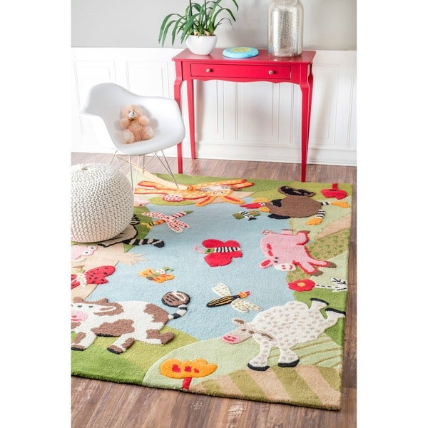 Nuloom Handmade Kids Animal Farm Wool Rug 5 X 7 Free