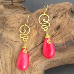 Handmade Goldtone Red Coral Teardrop Swirl Earrings (Thailand)