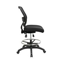 Space Black Drafting Chair with Breathable Dark Air Grid Back